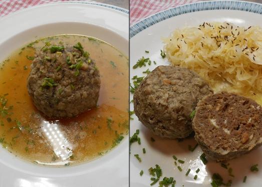 Leberknödel mögen Suppe und Sauerkraut gleich gern.